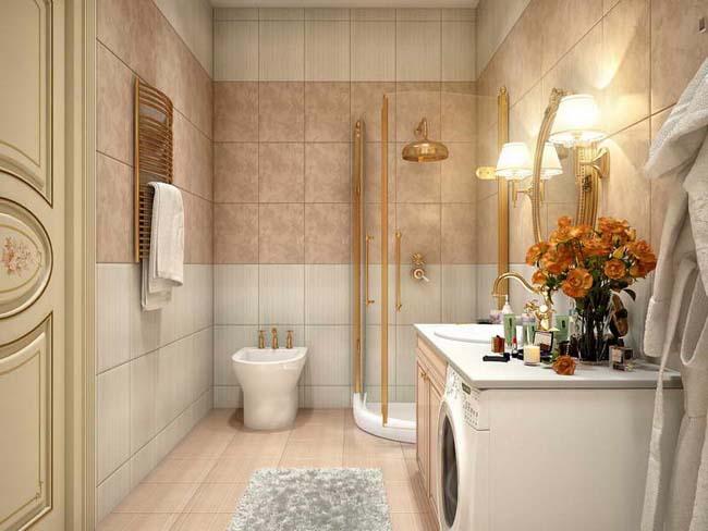 sade krem tonlarda banyo dekorasyonu örnegi