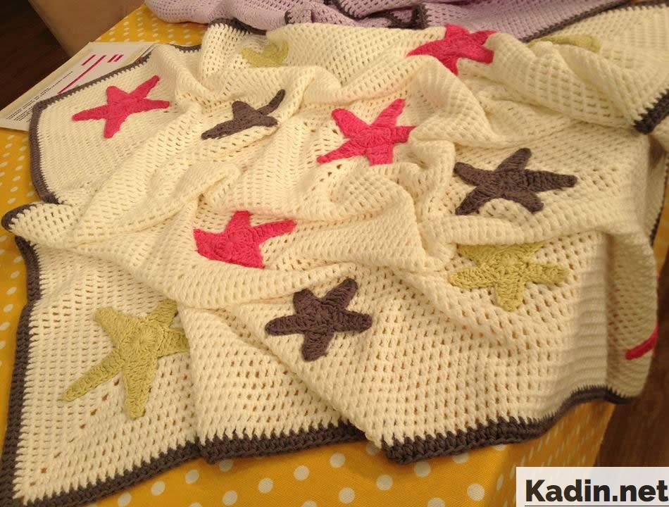 derya baykal yildiz motifli bebek battaniye